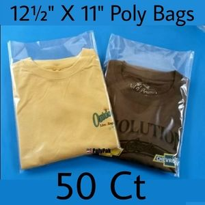 12½ X 11 Poly Bags Clear Open Top 50 Count Ship